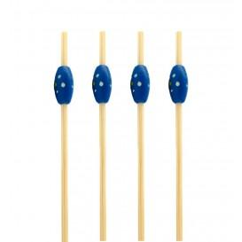 """Pinchos de Bambu """"Punteado"""" Azul 120mm (200 Uds)"""