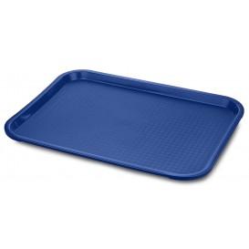 Bandeja Plastico Rectangular Fast Food Azul 30,4x41,4cm (24 Uds)