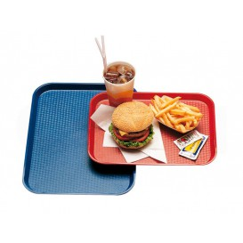 Bandeja Plastico Rectangular Fast Food Azul 35,5x45,3cm (1 Uds)