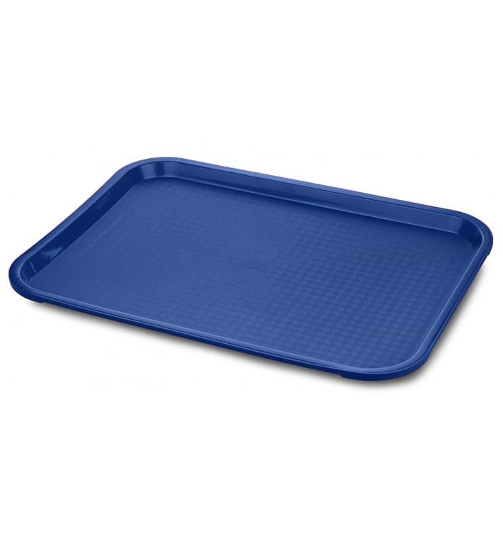 Bandeja Plastico Rectangular Fast Food Azul 35,5x45,3cm (12 Uds)