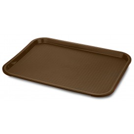 Bandeja Plastico Rectangular Fast Food Chocolate 30,4x41,4cm (24 Uds)