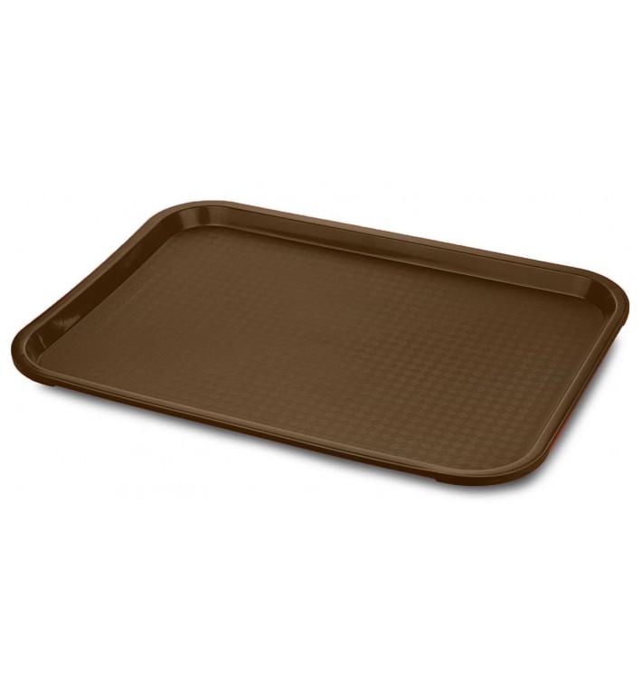Bandeja Plastico Rectangular Fast Food Chocolate 30,4x41,4cm (24 Uds)