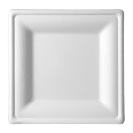 Plato Cuadrado Caña de Azucar Blanco 200x200mm (50 Uds)