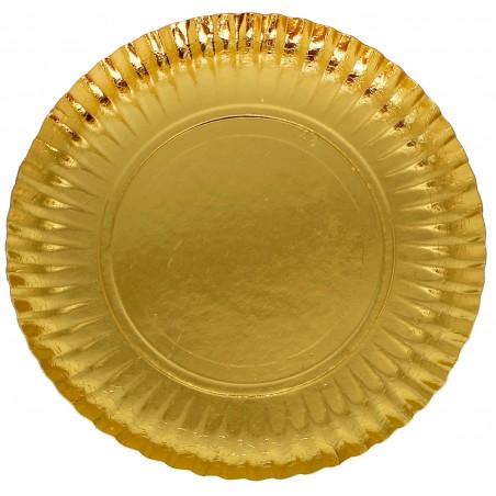 Plato de Carton Redondo Dorado 230 mm (500 Uds)