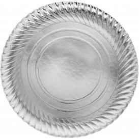 Plato de Carton Redondo Plateado 300 mm (100 Uds)