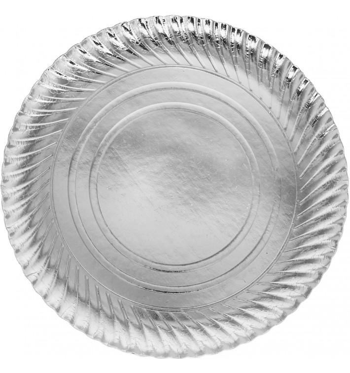Plato de Carton Redondo Plateado 300 mm (400 Uds)