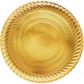 Plato de Carton Oro Redondo 300mm (200 Uds)