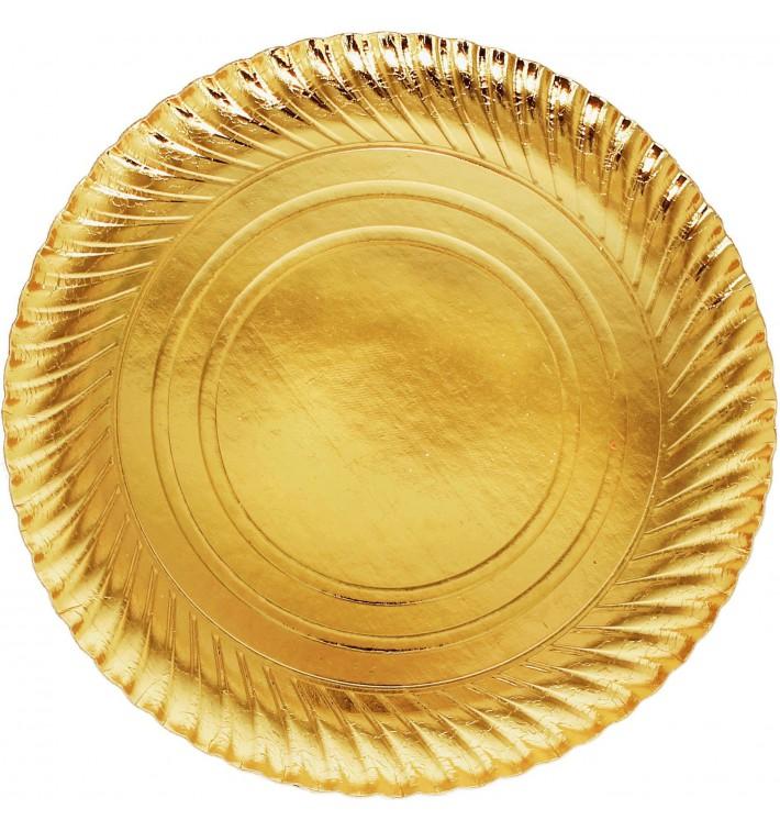 Plato de Carton Redondo Dorado 300 mm (400 Uds)