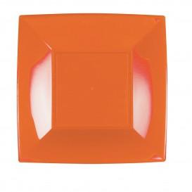 Plato de Plastico Llano Naranja Nice PP 230mm (25 Uds)