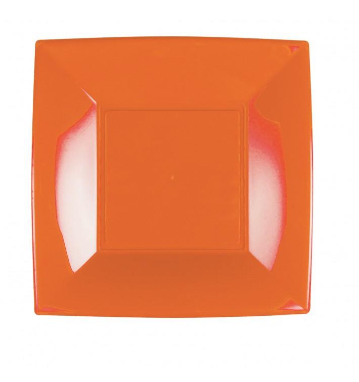 Plato de Plastico Llano Naranja Nice PP 230mm (300 Uds)