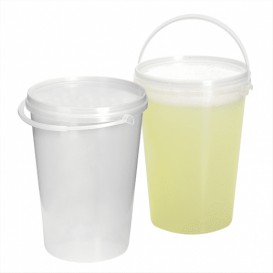 Cubo Transparente con Asa y Tapa 1000 ml (10 Uds)