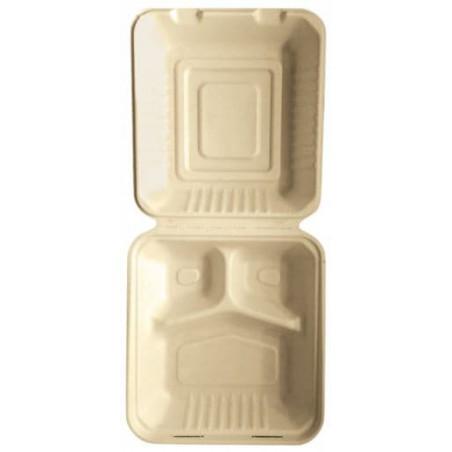 Envase MenuBox Caña Azúcar 3C Natural 20x20x7,5cm (50 Uds)
