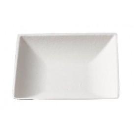 MiniPlato Cuadrado Caña de Azucar Blanco 6,5x6,5 cm (50 Uds)