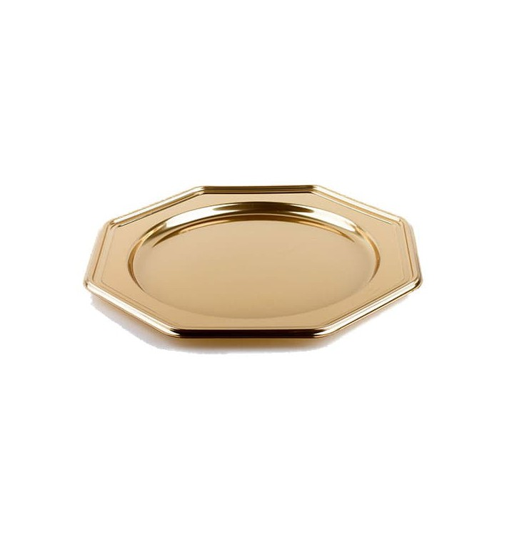 Bajoplato de Plastico Catering Octog. Oro 30 cm (50 Uds)