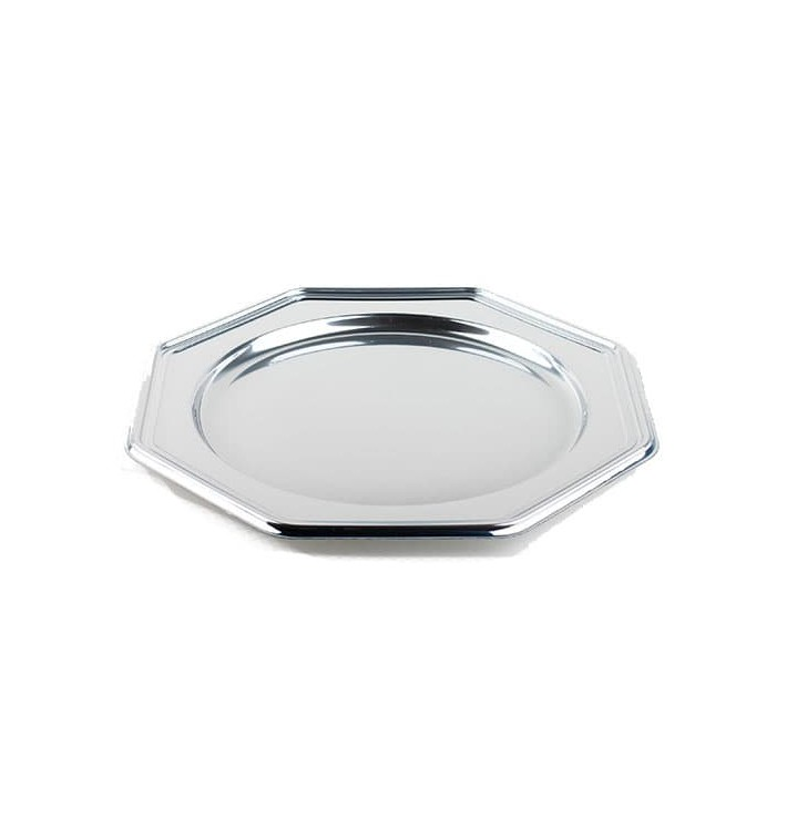 Bajoplato de Plastico PET Octogonal Plata 30 cm (5 Uds)