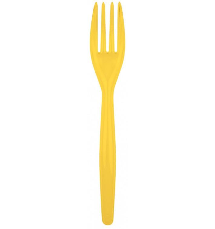 Tenedor de Plastico Easy PS Amarillo 180mm (20 Uds)