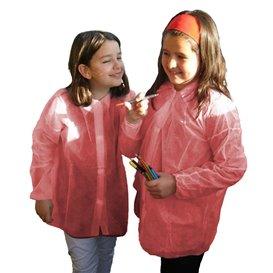 Bata Infantil Roja TST PP Con Velcro Sin Bolsillo (50 Uds)