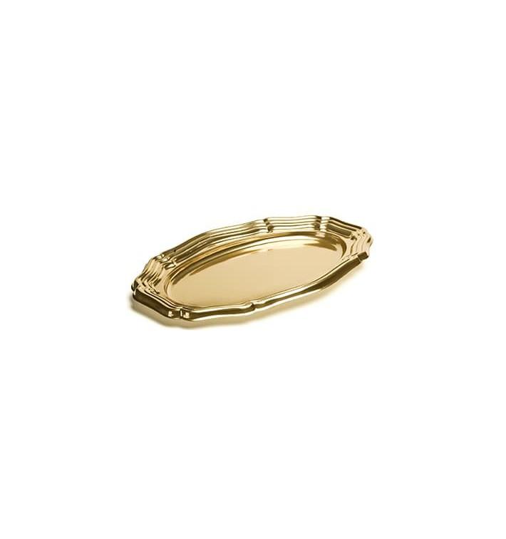 Bandeja Plastico Ovalada Oro 46x30 cm (50 Uds)