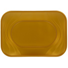 "Bandeja de Plastico PP ""X-Table"" Oro 330x230mm (60 Uds)"
