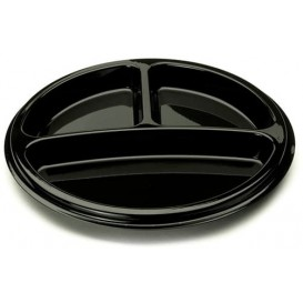 Plato Plastico Redondo 3 Compartim. Negro 26 cm (25 Uds)