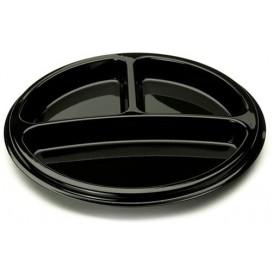 Plato Plastico Redondo 3 Compartim. Negro 26 cm (250 Uds)