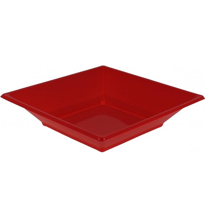 Plato de Plastico Hondo Cuadrado Rojo 170mm (5 Uds)