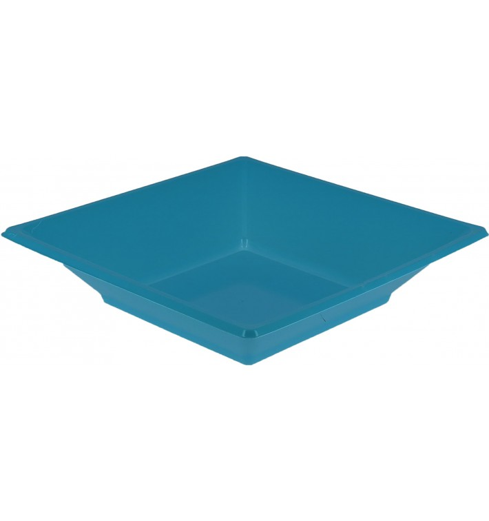 Plato de Plastico Hondo Cuadrado Turquesa 170mm (5 Uds)