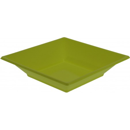 Plato de Plastico Hondo Cuadrado Pistacho 170mm (750 Uds)