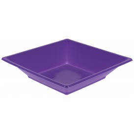 Plato de Plastico Hondo Cuadrado Lila 170mm (300 Uds)