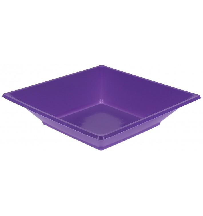Plato de Plastico Hondo Cuadrado Lila 170mm (750 Uds)