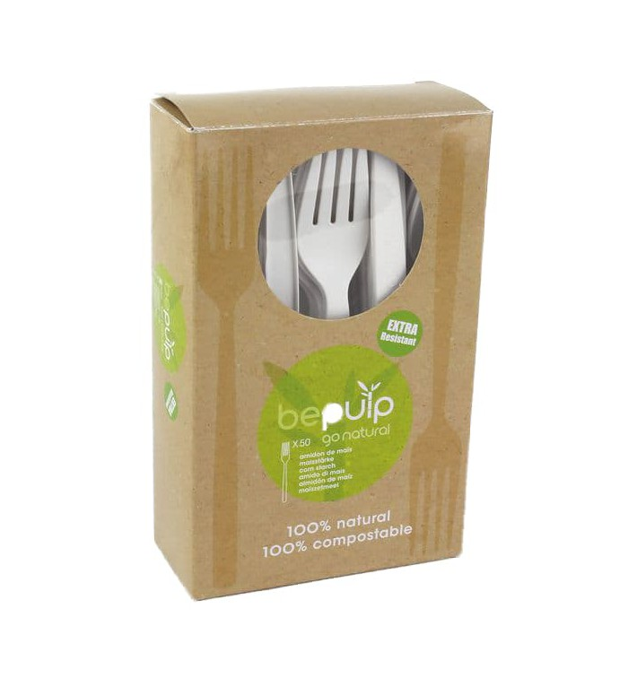 Tenedor Biodegradable PLA Blanco 160mm (50 Uds)