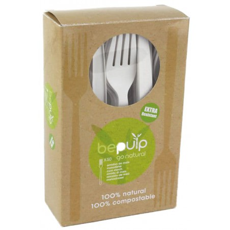 Tenedor Biodegradable CPLA Blanco 160mm en Caja (500 Uds)