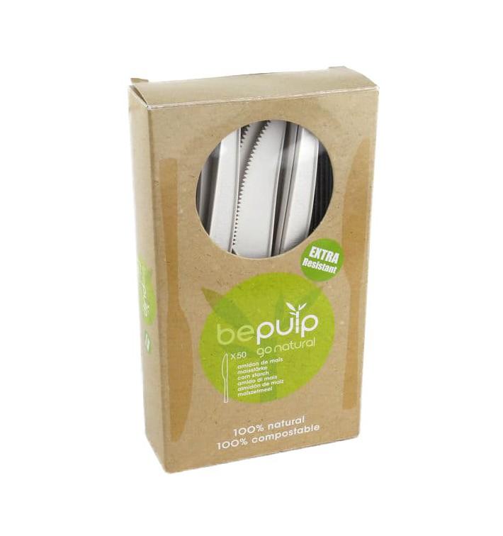 Cuchillo Biodegradable PLA Blanco 160mm (500 Uds)