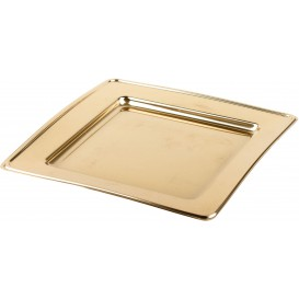 Plato de Plastico PET Cuadrado Oro 24cm (6 Uds)