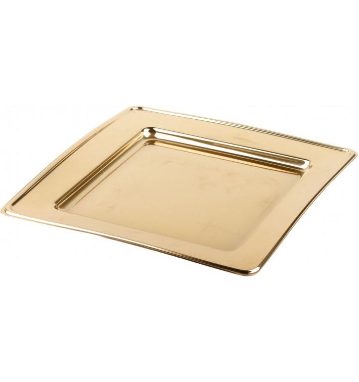 Plato de Plastico PET Cuadrado Oro 24cm (180 Uds)