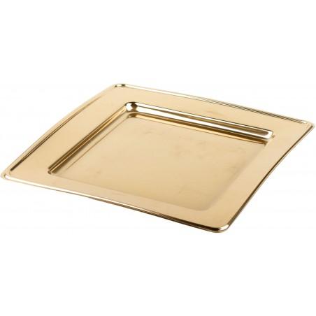 Plato Reutilizable PET Cuadrado Oro 30cm (4 Uds)