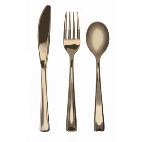 Kit de Tenedor, Cuchillo y Cuchara Oro Metalizado (10 kits)