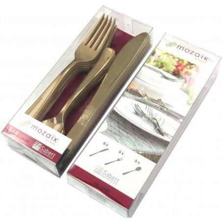 Kit de Tenedor, Cuchillo y Cucharilla Oro Metalizado (20 kits)