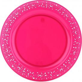 """Plato Plastico Redondo """"Lace"""" Frambuesa 19cm (4 Uds)"""