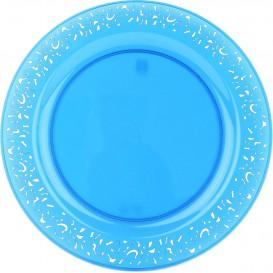"""Plato Plastico Redondo """"Lace"""" Turquesa 19cm (88 Uds)"""