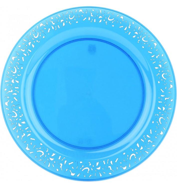 "Plato Plastico Redondo ""Mandala"" Turquesa 23cm (88 Uds)"