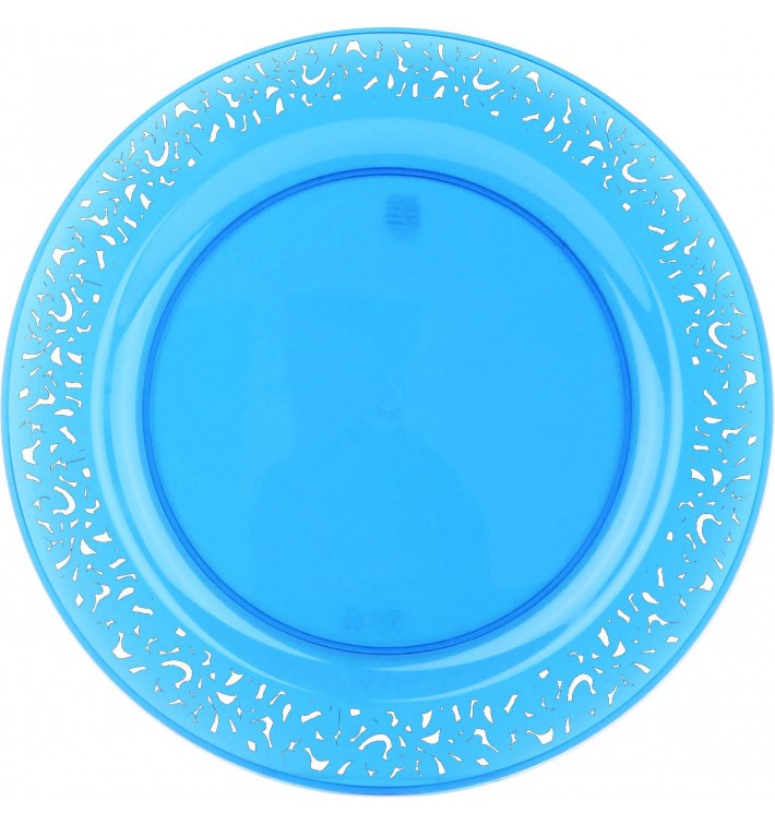 "Plato Plastico Redondo ""Mandala"" Turquesa 23cm (4 Uds)"