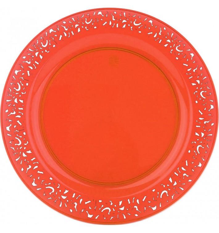 "Plato Plastico Redondo ""Mandala"" Naranja 19cm (4 Uds)"