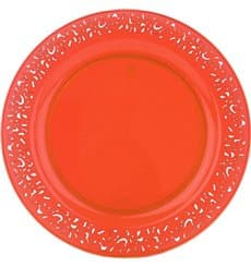 "Plato Plastico Redondo ""Lace"" Naranja 23cm (88 Uds)"