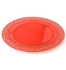 "Plato Plastico Redondo ""Lace"" Naranja 23cm (4 Uds)"