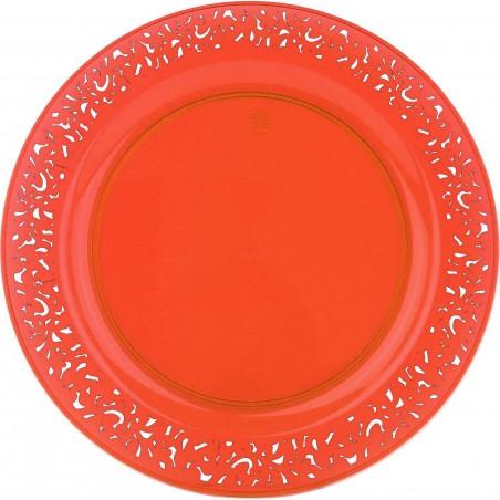 "Plato Reutilizable Redondo ""Lace"" Naranja 23cm (4 Uds)"