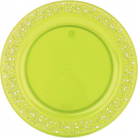 """Plato Reutilizable PS Redondo """"Lace"""" Verde 23cm (4 Uds)"""