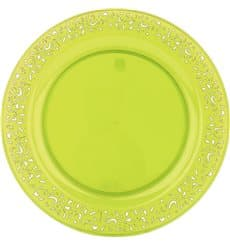 """Plato Plastico Redondo """"Lace"""" Verde 23cm (88 Uds)"""