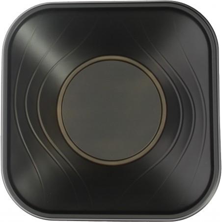 """Bol de Plastico PP """"X-Table"""" Cuadrado Negro 180x180mm (8 Uds)"""
