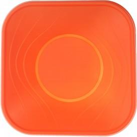 Bol de Plastico Cuadrado Naranja PP 180x180mm (8 Uds)